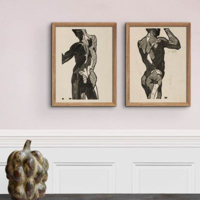 Anatomical study of a mans back and glute muscles – Reijer Stolk Art Print Poster
