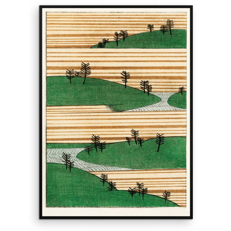 Landscape with green hills and trees - Watanabe Seitei Art Print