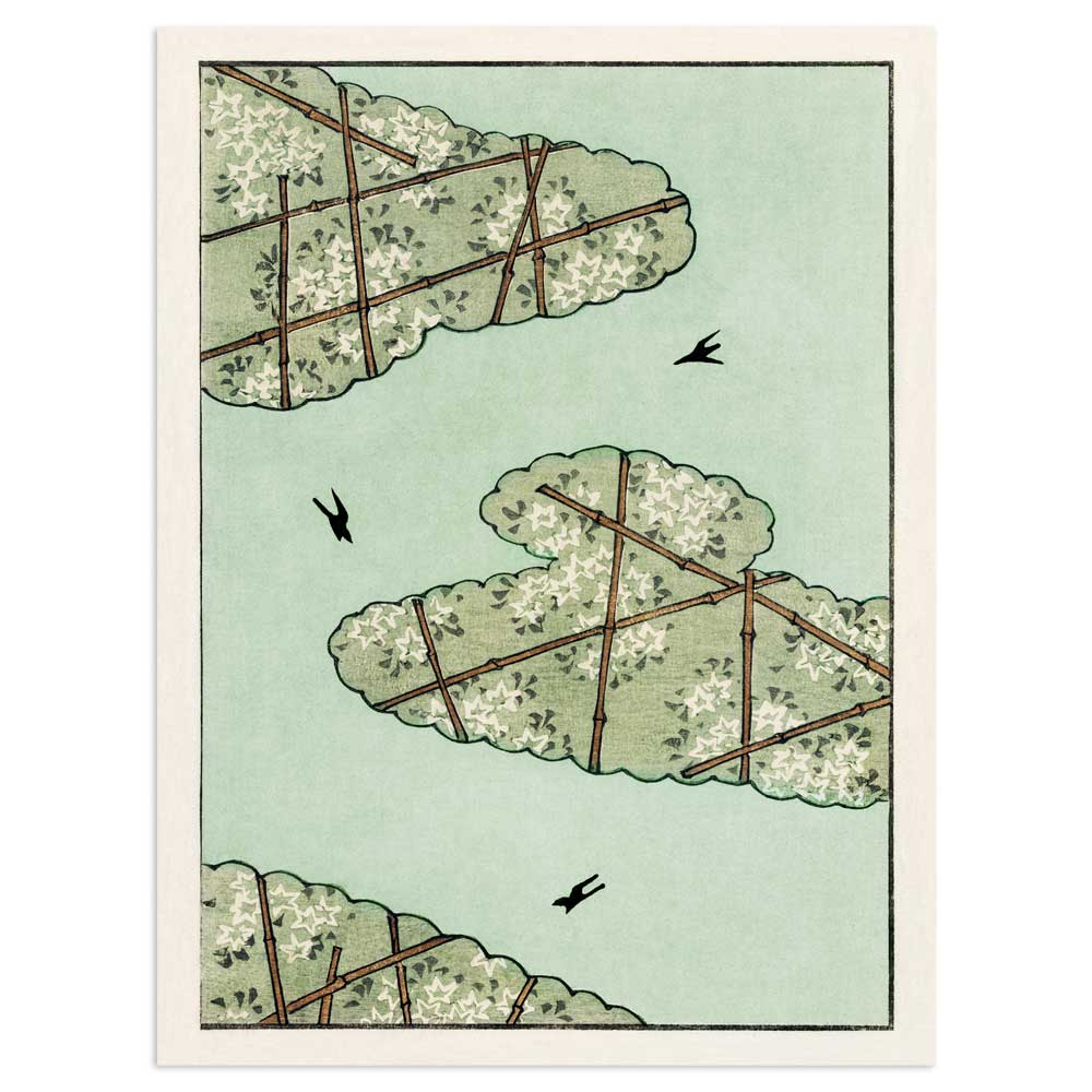 Birds and clouds in the sky - Watanabe Seitei (Watanabe Shōtei) Art Print Poster