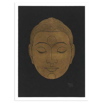 Buddha Head on dark background – Reijer Stolk (Reyer Stolk) Art Print Poster