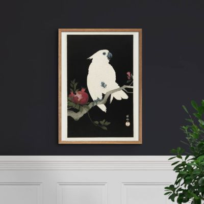 Cockatoo with pomegranate – Ohara Koson Art Print Poster
