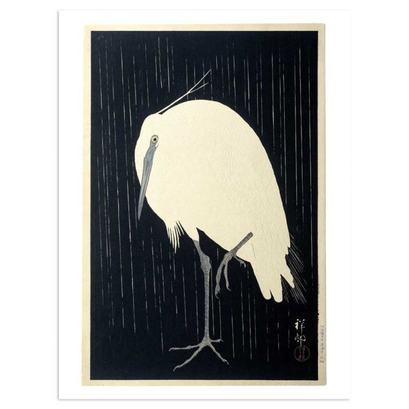Egret on rainy night - Heron - Ohara Koson Art Print 30x40