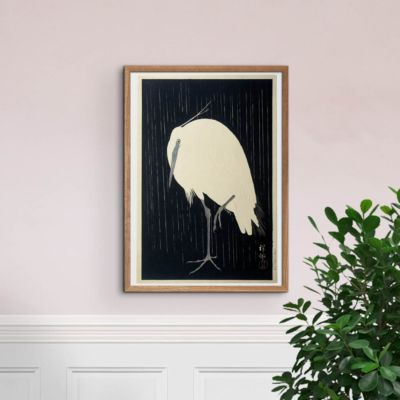 Egret on rainy night – Heron – Ohara Koson Art Print Poster