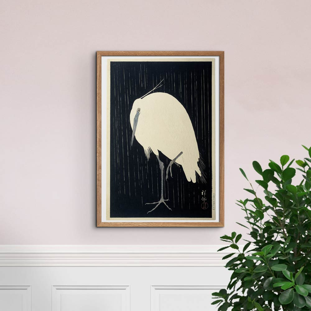Egret on rainy night - Heron - Ohara Koson Art Print Poster