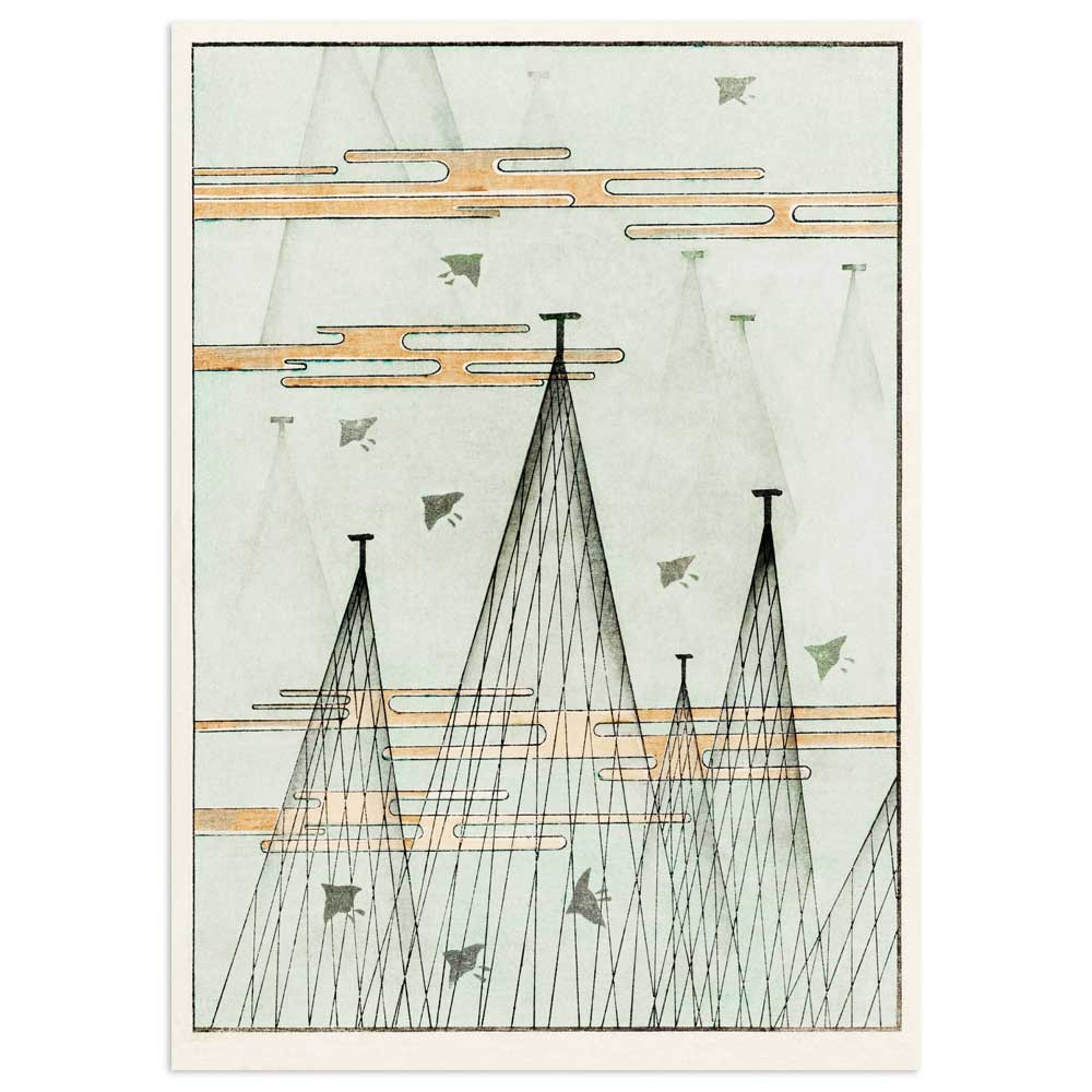 Watanabe Seitei Poster - Skyscape with birds