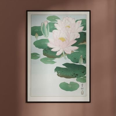 Flowering Water Lilies – Ohara Koson Japanese Woodblock Print Poster