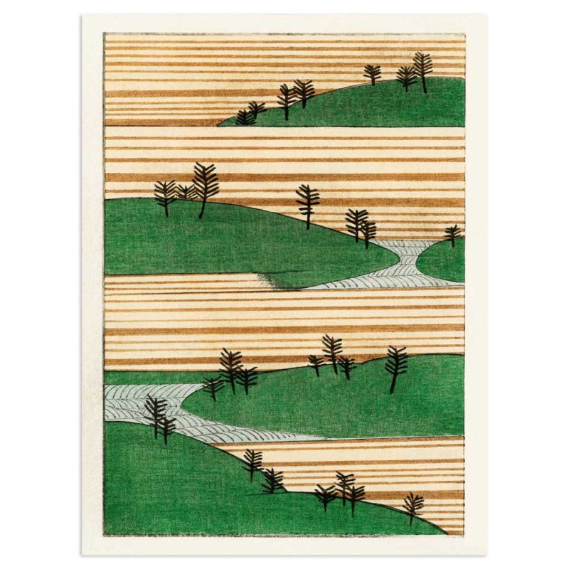 Landscape with green hills and trees - Watanabe Seitei Art Print 30x40