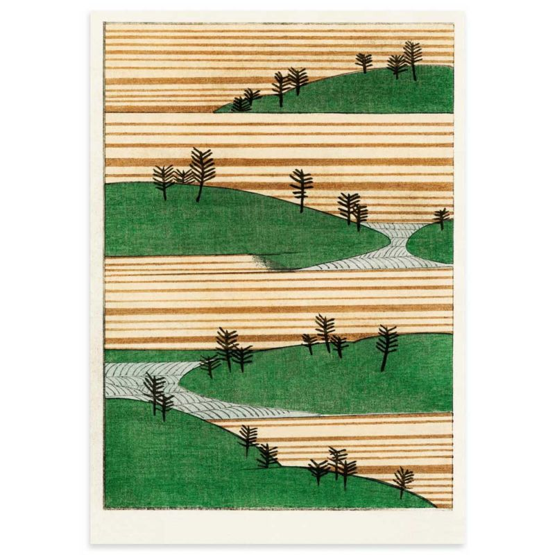 Landscape with green hills and trees - Watanabe Seitei Art Print 70x100