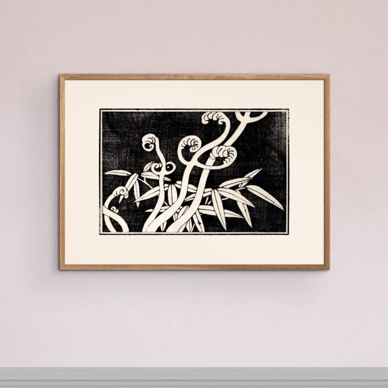 Fern coils and bamboo - Japanese Woodblock Print 21x30cm