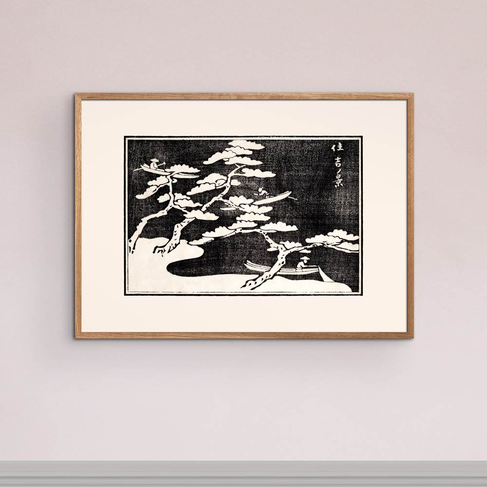 Fishing on the lake - Japanese Woodblock Print Poster