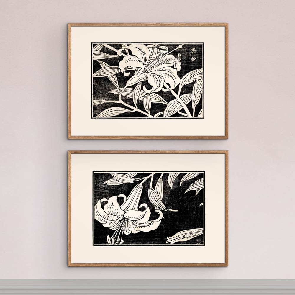 Lily in bloom - Japanese woodblock print Poster