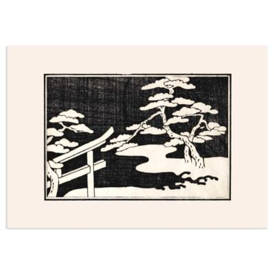 Trees by the lake – Japanese woodblock print Poster