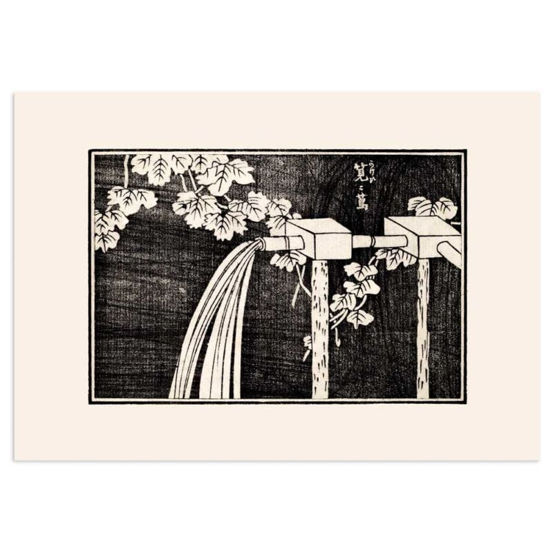 Watering the fields - Japanese woodblock print 21x30cm