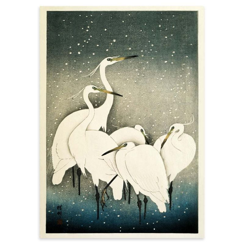 Egrets in the snow - Ohara Koson Japanese woodblock print poster 50x70cm