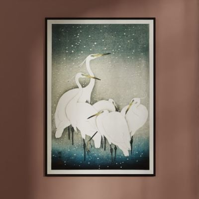 Egrets in the snow – Ohara Koson Japanese Woodblock Print Poster