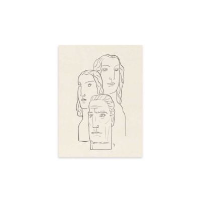 Two women and a mans head –  Leo Gestel Line Drawing Art Print