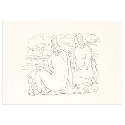 Two women sitting by the sea – Leo Gestel Line Drawing Art Print