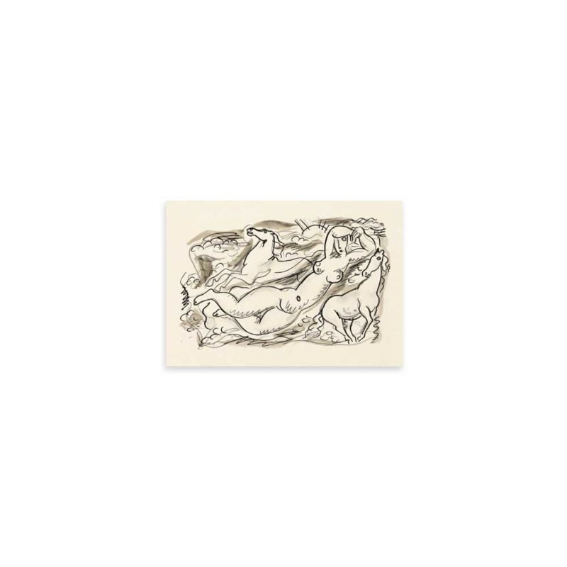 Woman and two horses in the sea - Leo Gestel Sketch Art Print 21x30cm