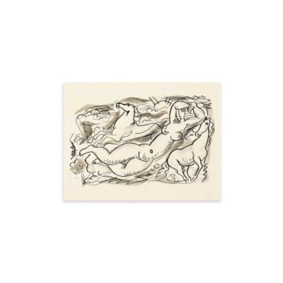 Woman and two horses in the sea – Leo Gestel Sketch Art Print