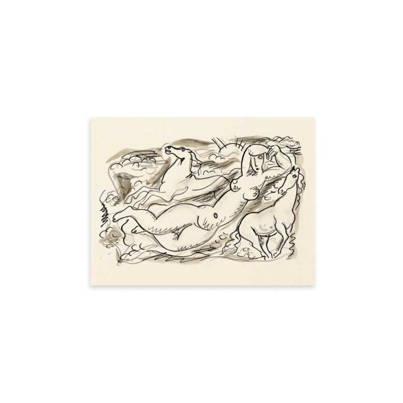 Woman and two horses in the sea - Leo Gestel Sketch Art Print 30x40cm