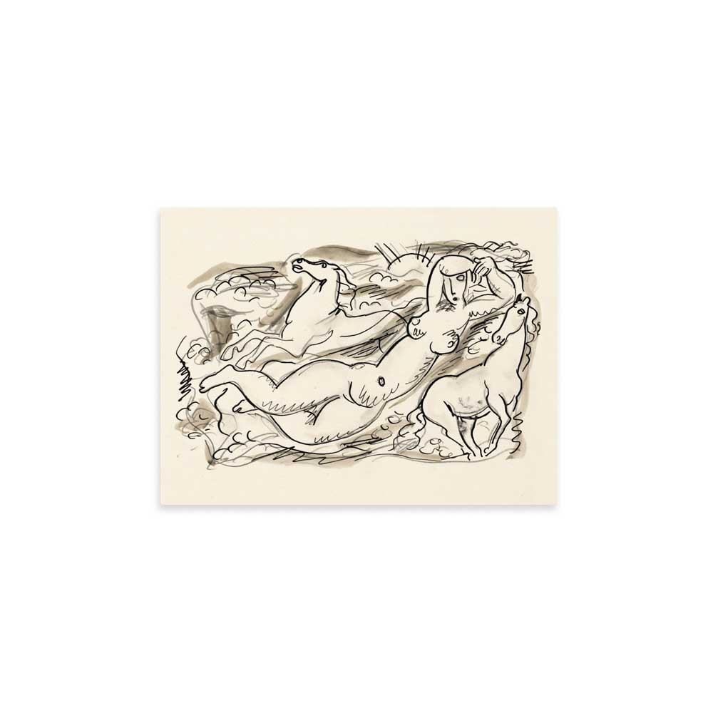Woman and two horses in the sea - Leo Gestel Sketch Art Print