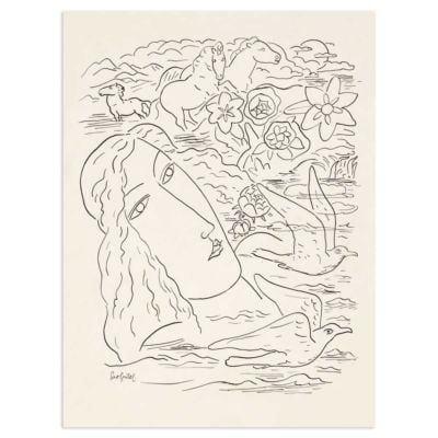 Woman, seagulls and horses – Leo Gestel Line Drawing Art Print Poster