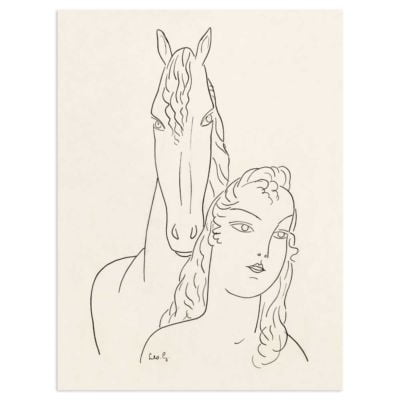 Woman with horse – Leo Gestel Line Drawing Art Print
