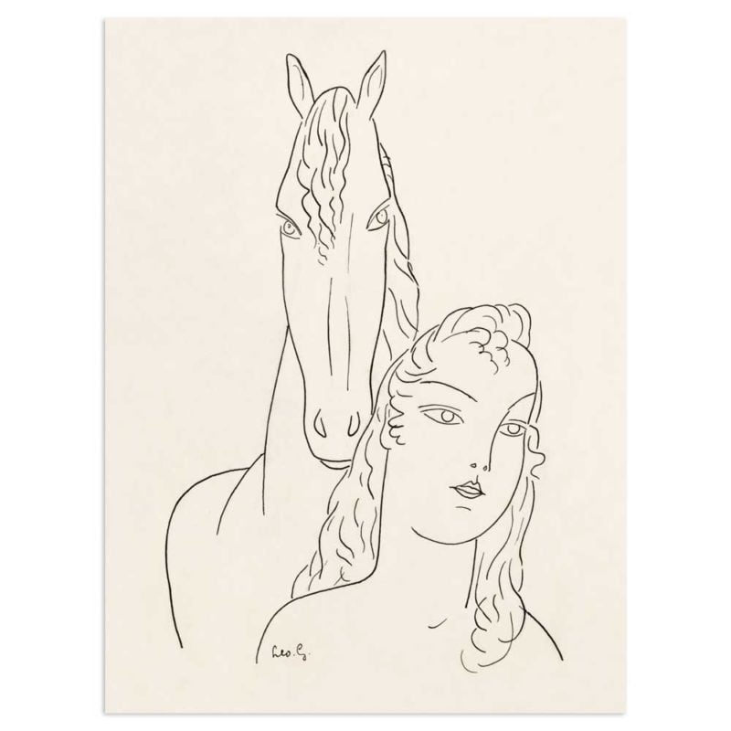 Woman with horse - Leo Gestel Line Drawing Art Print
