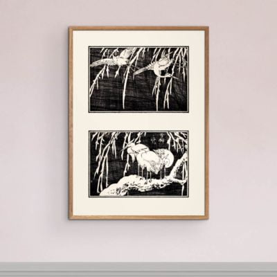Herons in a tree – Japanese Art print Poster