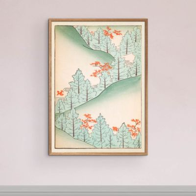 Hillside Trees – Japanese Woodblock Print Poster