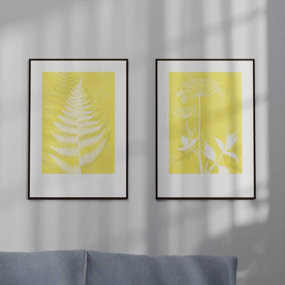 Angelica and Lady Fern Pantone Color of the year Yellow Monocolor posters
