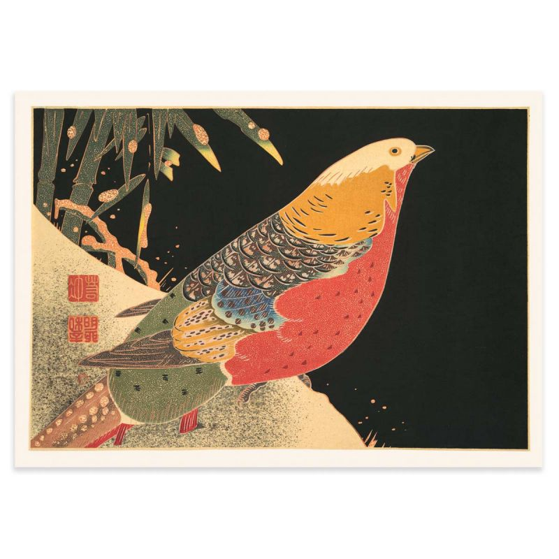 Golden Pheasant in the snow - Japandi Woodblock Poster - 50x70cm