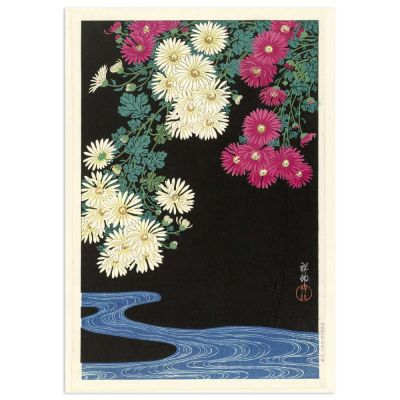 Chrysanthemums and Running Water – Ohara Koson Japanese Woodblock Print Poster