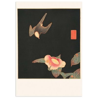 Swallow and Camellia – Japanese Woodblock Japandi Poster – Itō Jakuchū
