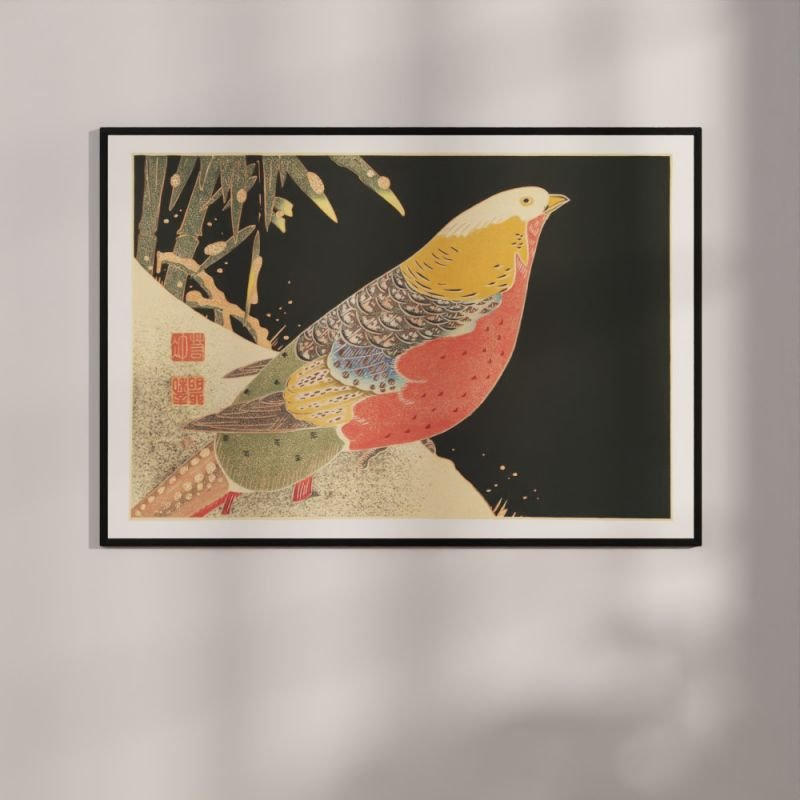 Golden Pheasant in the snow - Japandi Woodblock Poster