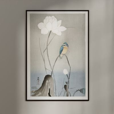 Kingfisher with Lotus Flower – Ohara Koson Japanese Woodblock Print Poster