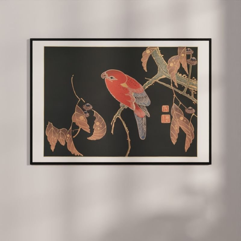 Red Parrot on a branch - Woodblock Print Poster