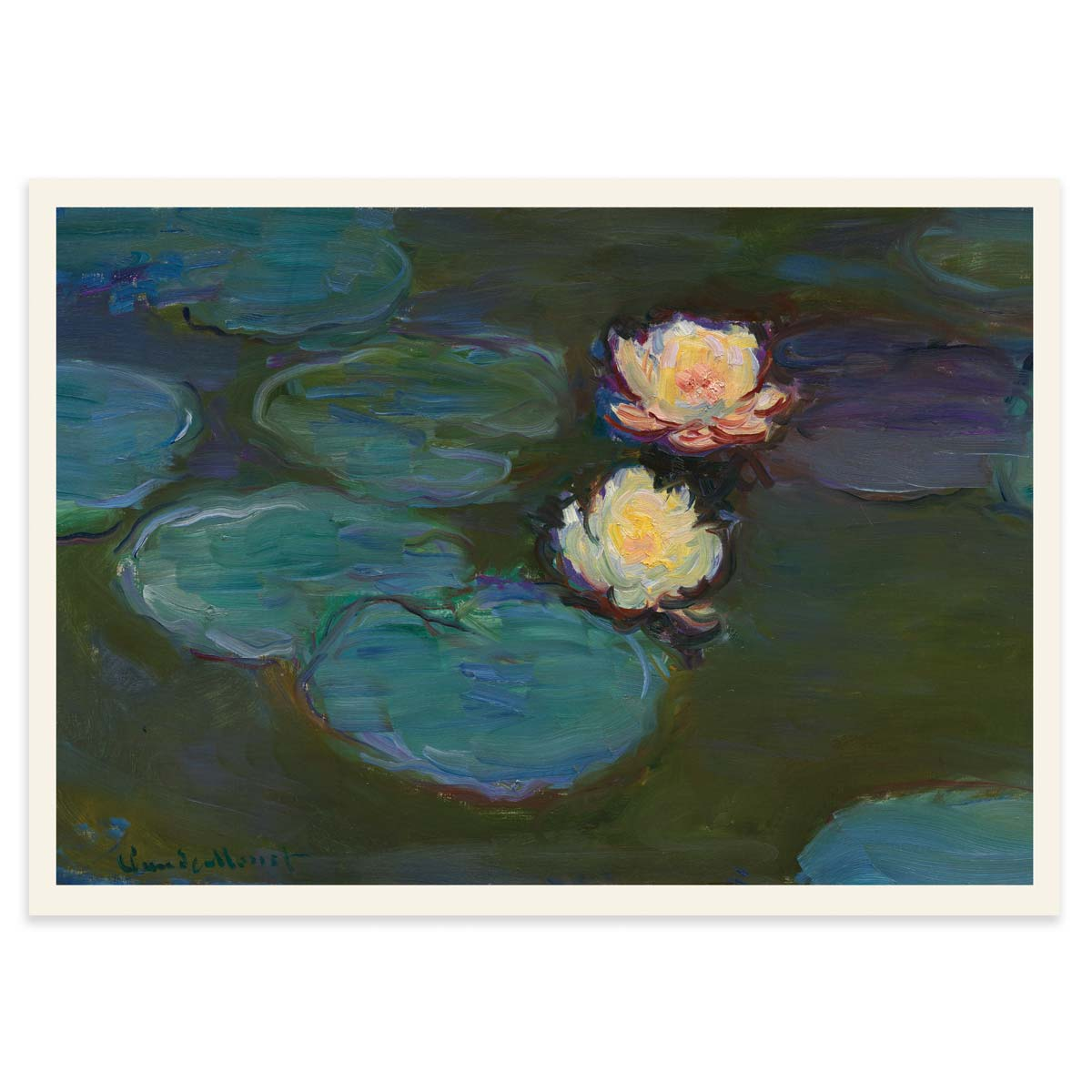 Nympheas Poster - Water Lilies by Claude Monet 1897