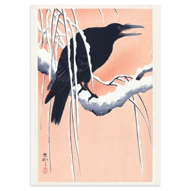  Crow on a branch - Ohara Koson woodblock print poster 50x70cm
