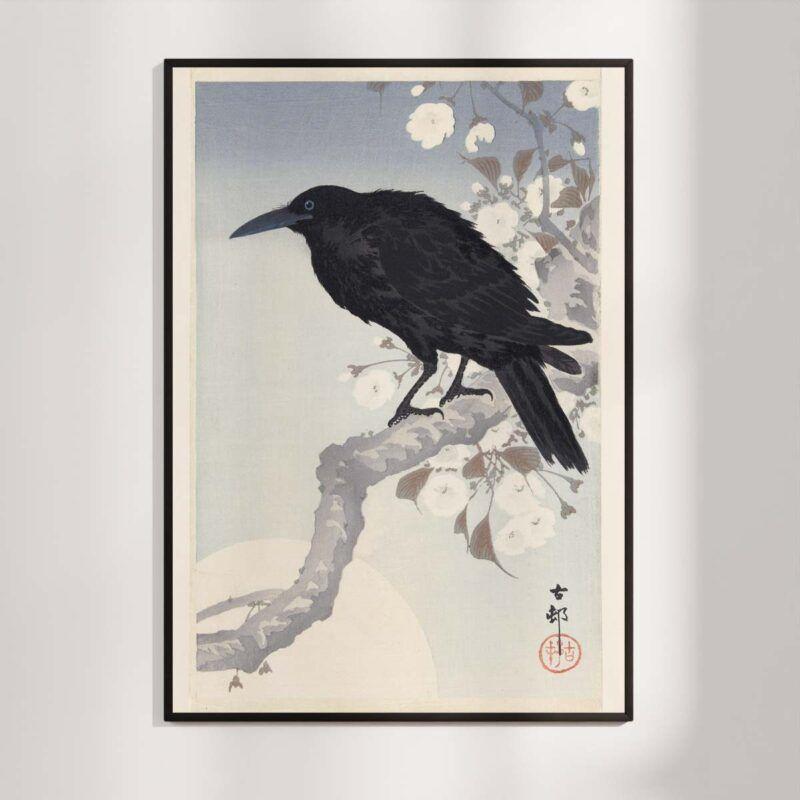 Black crow in the moonlight - Ohara Koson japanese woodblock print Aruhana