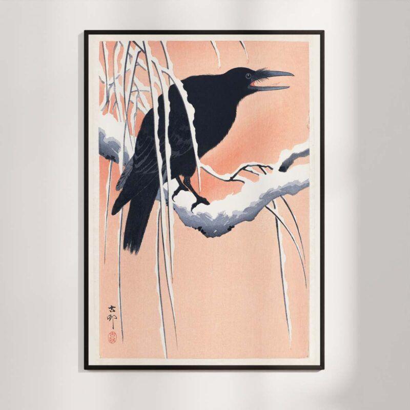  Crow on a branch - Ohara Koson woodblock print poster Aruhana