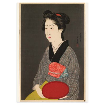 Japanese poster – Woman holding a red tray