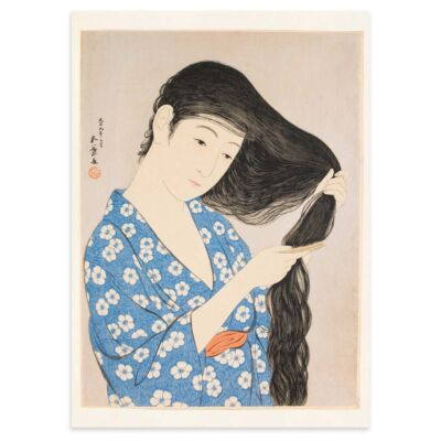 Japanese Poster – Woman combing her hair