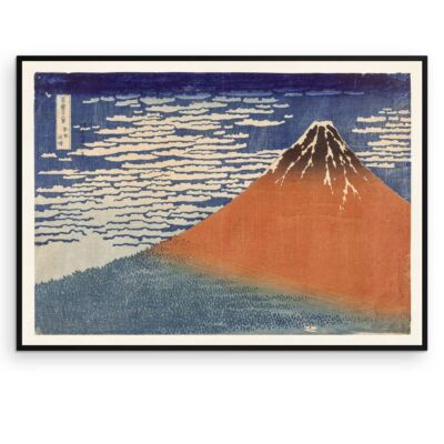 Hokusai Poster – Fine Wind, Clear Morning (Red Fuji)